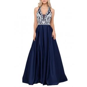 Blondie Nites Women's Halter Lace Appliqué Top Ball Gown