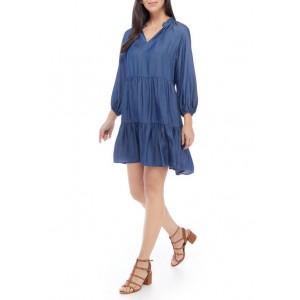 Crown & Ivy™ Women's Blouson Sleeve Split Neck Peasant Dress