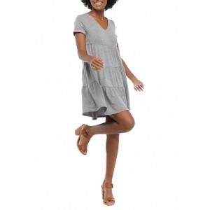 Crown & Ivy™ Women's Short Sleeve V-Neck Tiered Dress