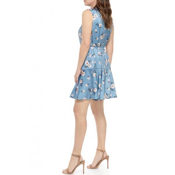 Emma & Michelle Women's Pintuck Floral Dress