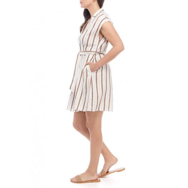 Emma & Michelle Women's Short Sleeve Stripe Belted Shirtdress