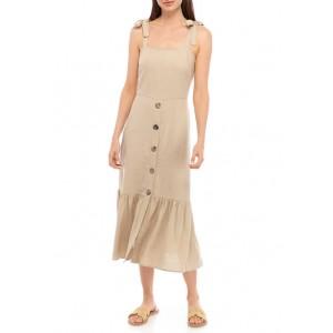 Emma & Michelle Women's Tie Shoulder Button Front Dress
