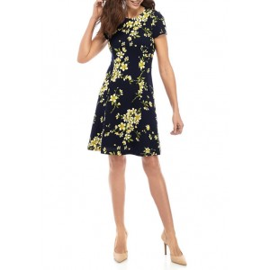 Jessica Howard Women's Floral Textured Fit and Flare Dress