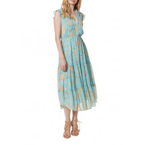 Jessica Simpson Flutter Sleeves Printed Tiered Maxi Dress