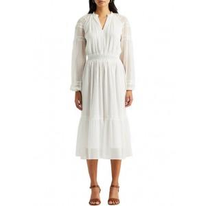 Lauren Ralph Lauren Polka-Dot Lace-Trim Dobby Dress