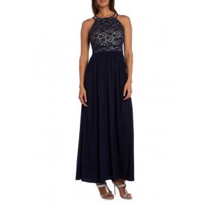 Nightway Women's Long Lace Knit Stretch Dress