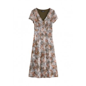 Perceptions Women's Palm Print Empire Waist Midi Dress