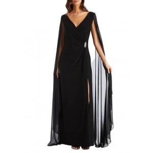 R & M Richards Women's Chiffon Duster Cape Dress