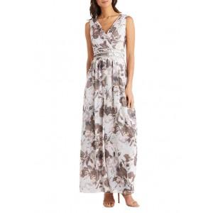 R & M Richards Women's Long Printed Wrap Overskirt Dress