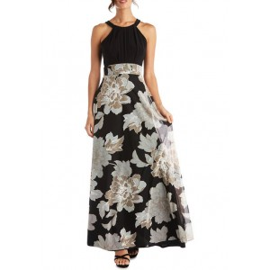 RM Richards Halter Neck Sleeveless Top with Printed Long Puff Print Skirt