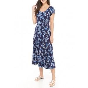 Ronni Nicole Women's Short Sleeve Printed Midi Dress