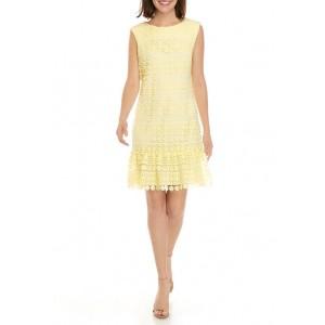 Sandra Darren Women's Ruffle Hem Circle Lace Shift Dress