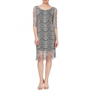 SLNY 3/4 Sheer Sleeve Scoop Neckline Crochet Fringe Hem Dress
