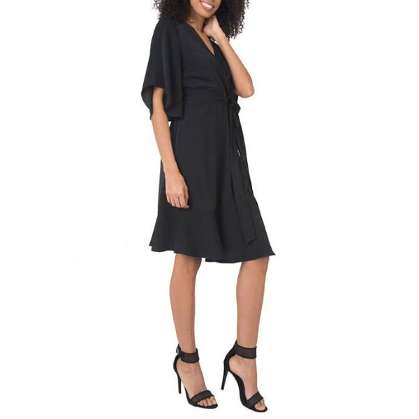 Standards and Practices Short Sleeve Ruffle Hem Wrap Dress