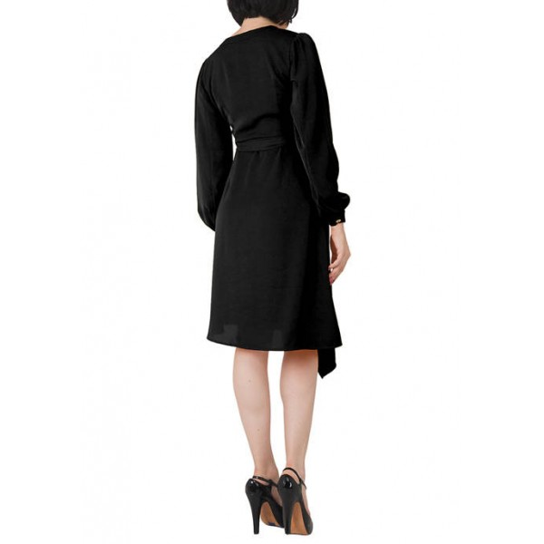 Standards and Practices Women's Natalia Button Up Wrap Lantern Sleeve Dress