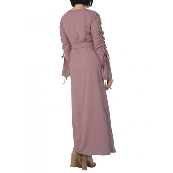 Standards and Practices Women's Violeta Ruched Sleeves Wrap Maxi Dress