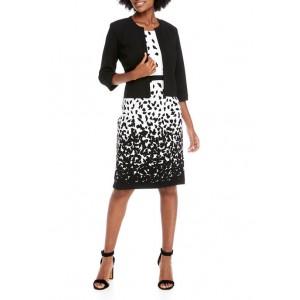 Studio 1 Women's Solid Jacket Dot Sheath Dress