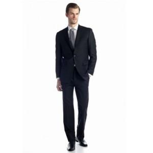 Austin Reed Black Solid Basic Suit