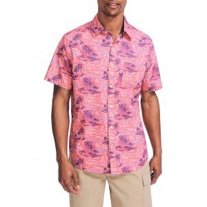 Nautica Short Sleeve Print Poplin Shirt