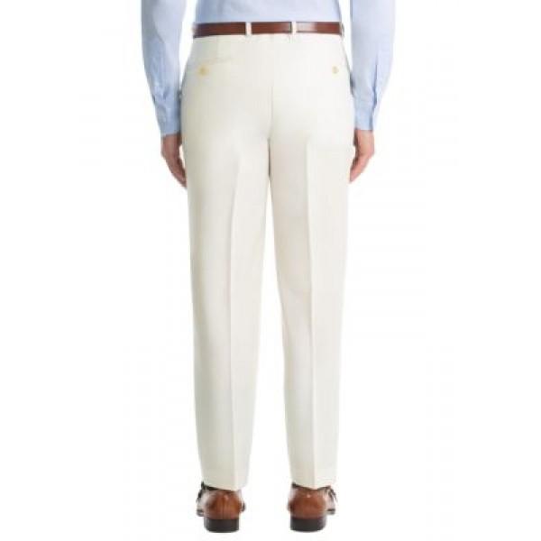 Lauren Ralph Lauren Solid Off White Twill Wool Straight Suit Separate Pants