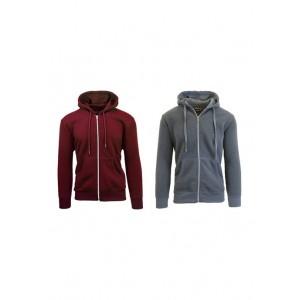 Galaxy Men's Full Zip Fleece Hooded Sweatshirt 2 Pack