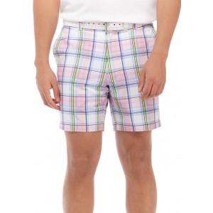 Pro Tour® 7 Inch Flat Front Plaid Golf Shorts