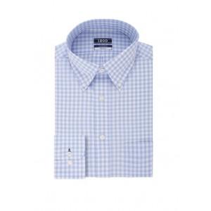 IZOD Regular Fit Stretch Gingham Print Dress Shirt