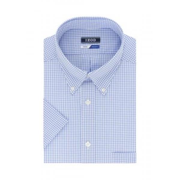 IZOD Short Sleeve Allover Stretch Regular Fit Dress Shirt
