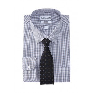 Saddlebred®  2 Piece Stretch Checkered Button Down Shirt and Dot Tie Set