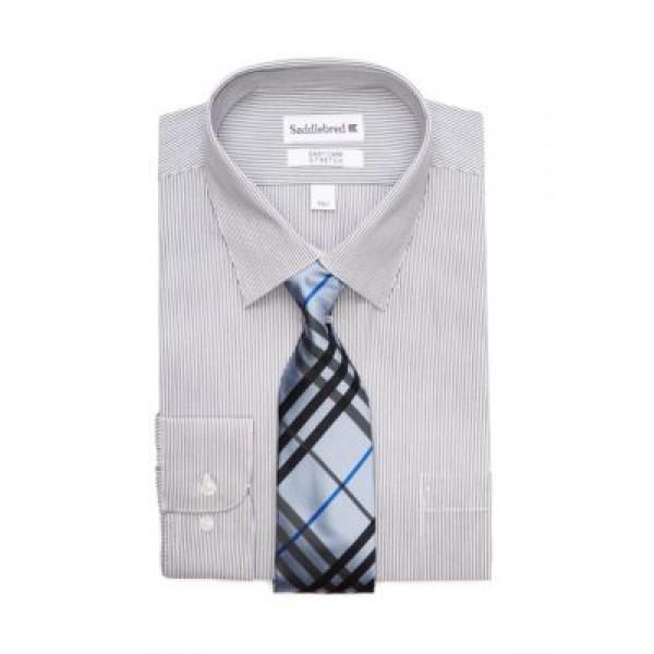 Saddlebred® 2 Piece Stretch Point Collar Dress Shirt and Tie Set