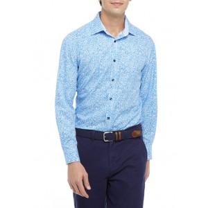 Tallia Orange Blue Micro Floral Performance Stretch Slim Fit Dress Shirt