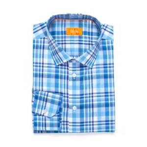 Tallia Orange Slim-Fit Plaid Dress Shirt
