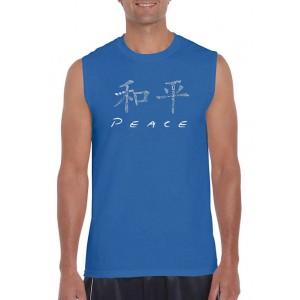 LA Pop Art Chinese Peace Symbol Word Art Sleeveless Graphic T-Shirt