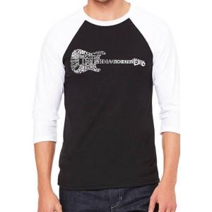 LA Pop Art Raglan Baseball Word Art Graphic T-Shirt - Rock Guitar