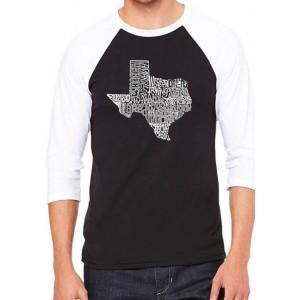 LA Pop Art Raglan Baseball Word Art Graphic T-Shirt - The Great State of Texas