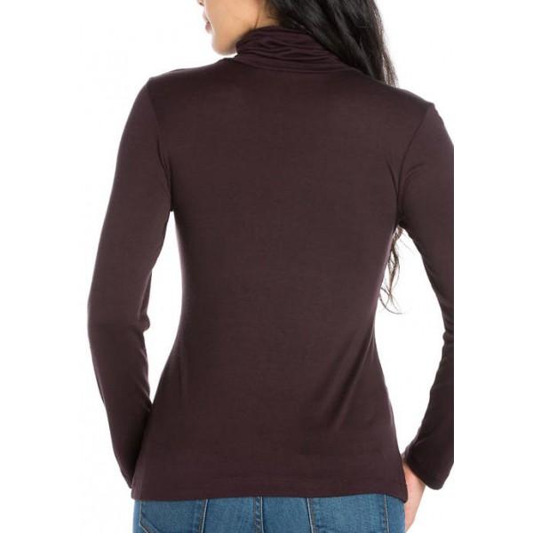 24seven Comfort Apparel Women's Classic Long Sleeve Turtleneck