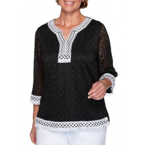 Alfred Dunner Women's Checkmate Textured Top with Lace Trim