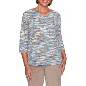 Alfred Dunner Women's Dover Cliffs Space Dye Chenille Top