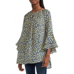 Chaps 3/4 Bell Sleeve Printed Georgette Top