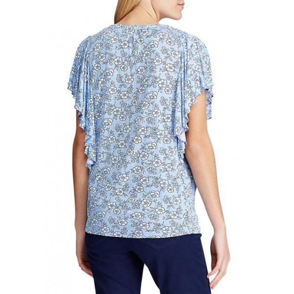 Chaps Women's Flutter Sleeve Floral Peasant Top