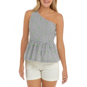 Crown & Ivy™ Women's One Shoulder Yarn Dyed Top