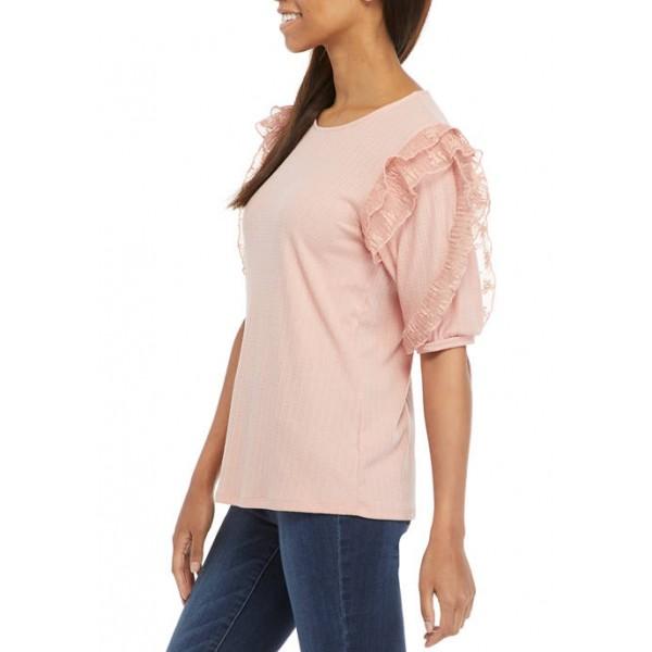 Cupio Women's Textured Knit Puff Sleeve Shirt