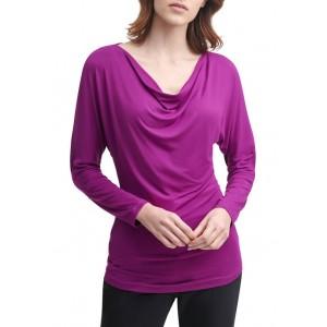 Donna Karan Women's Matte Jersey Long Sleeve Cowl Neck Top