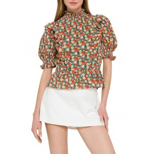 ENGLISH FACTORY Floral Ruffle Detailed Woven Top