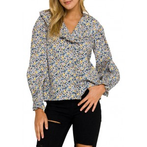 ENGLISH FACTORY Women's Floral Print Long Sleeve Blouse