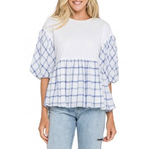 ENGLISH FACTORY Women's Knit and Check Woven Combo Top