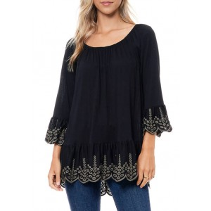 Fever Women's Knit Top with Embroidery