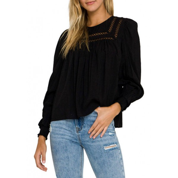 Free The Roses Front Lace Trim Top