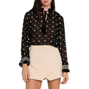 Free The Roses Women's Embroidered Long Sleeve Blouse