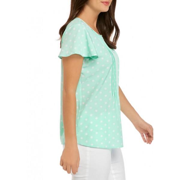 Kim Rogers® Women's Flutter Sleeve Sophie Pin Tuck Blouse
